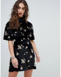 Free People - Be My Baby Velvet Skater Mini Dress - Lyst