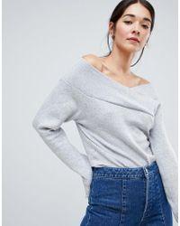 Vila - Off Shoulder Knitted Sweater - Lyst