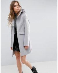 ASOS - Asos Hooded Slim Coat With Zip Front - Lyst