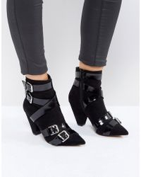ASOS - Robin Multi Strap Cone Heel Boots - Lyst