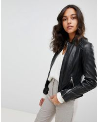 BOSS by Hugo Boss - Collarless Leather Jacket - Lyst