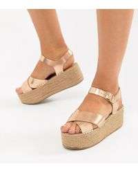 Truffle Collection - Wide Fit Flatform Sandals - Lyst