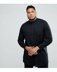 ASOS - Plus Regular Fit Super Longline Shirt In Black With Grandad Collar - Lyst