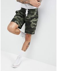 Hollister - Camo Print Icon Seagull Logo Sweat Shorts In Olive Green - Lyst