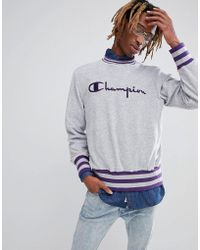 Champion - Towelling Sweatshirt With Contrast Rib In Grey - Lyst
