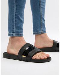 Lacoste - Fraisier Gold Croc Sliders In Black - Lyst