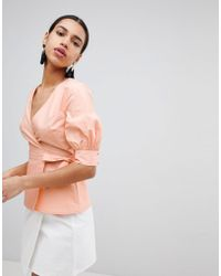 Fashion Union - Wrap Front Top With Balloon Sleeves - Lyst