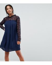 Elise Ryan Petite - High Neck Swing Dress With Lace Upper - Lyst