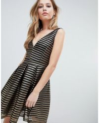 Oh My Love - Structured Stipe Skater Dress - Lyst
