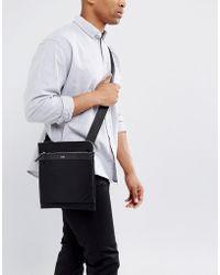 HUGO - By Boss Nylon And Leather Flight Bag Black - Lyst