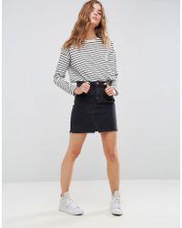 ASOS - Denim Pelmet Skirt In Washed Black - Lyst