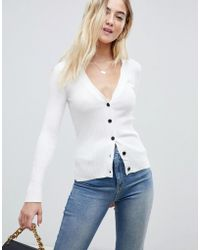 ASOS - Cardigan In Fine Knit Rib With Buttons - Lyst