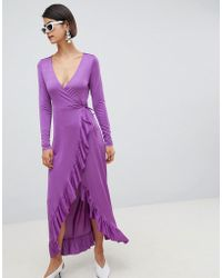 ASOS - Design Slinky Maxi Wrap Dress - Lyst