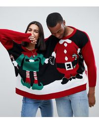 Boohoo - Exclusive Santa And Elf Two Person Christmas Jumper In Multi - Lyst