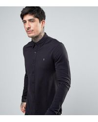 Farah - Pique Jersey Shirt Exclusive In Black - Lyst