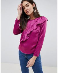 Girls On Film - Blouse With Frill Detail - Lyst