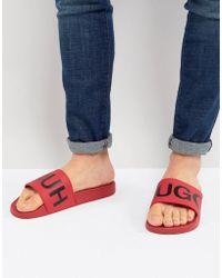 HUGO - Reverse Logo Sliders In Red - Lyst