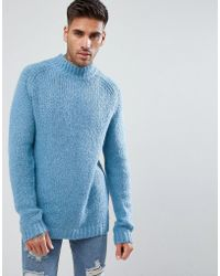 River Island | Chunky Roll Neck Jumper In Light Blue | Lyst