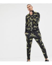 ASOS - Tall Track Jacket/skinny joggers In Retro Track Fabric With Tiger Print - Lyst
