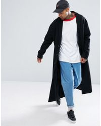 ASOS - Wool Mix Long Lined Overcoat In Black - Lyst