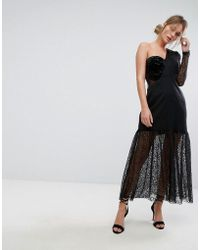 Three Floor - One Shoulder Pleated Midi Lace Dress - Lyst