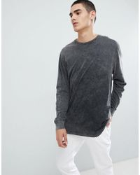 ASOS - Design Relaxed Longline Long Sleeve T-shirt In Acid Wash - Lyst