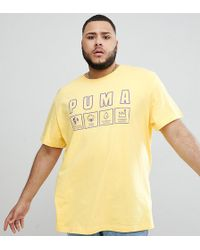 PUMA - Plus Organic Cotton T-shirt With Front Print In Yellow Exclusive To Asos - Lyst