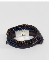 ASOS - Leather And Bead Bracelet Pack In Black And Navy - Lyst