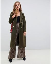 Missguided - Belted Military Coat In Green - Lyst