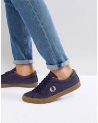 Fred Perry - Underspin Heavy Waxed Canvas Sneakers In Navy - Lyst