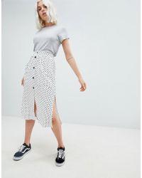Pull&Bear - Button Detail Midi Skirt In Polka Dot - Lyst