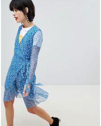 Pieces - Floral Print Wrap Dress - Lyst