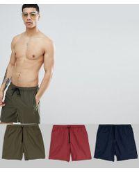 ASOS - Design Swim Shorts 3 Pack In Khaki/navy/burgundy Mid Length Save - Lyst