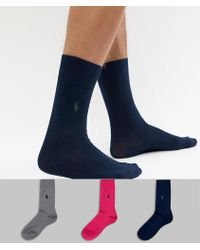 Polo Ralph Lauren - Mercerized Cotton 3 Pack Socks Player Logo In Pink/navy/grey - Lyst