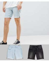 ASOS - Denim Shorts In Slim Washed Black With Abrasions & Light Wash - Lyst