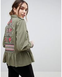B.Young - Embroidered Peplum Hem Military Jacket - Lyst