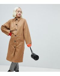 Monki - Oversized Lightweight Coat In Sand - Lyst