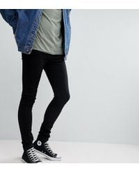 ASOS - Tall Extreme Super Skinny Jeans In Black - Lyst