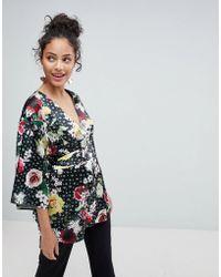 ASOS - Asos Kimono Wrap Top In Digi Floral - Lyst