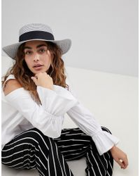 ASOS - Straw Boater Hat In Metallic Silver - Lyst