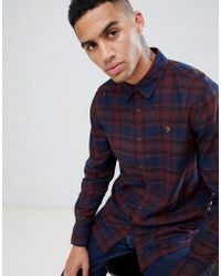 Farah - Eader Check Shirt In Red - Lyst