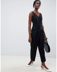 08b9fe1c5dc SELECTED - Femme V Neck Wide Leg Jumpsuit - Lyst