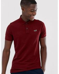 Hollister Icon Logo Heritage Slim Fit Polo In Burgundy Marl