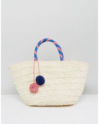 South Beach | Wrapped Handle Straw Beach Bag With Pom | Lyst