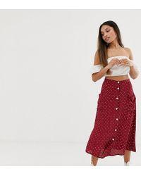 3e708f4ab6 Billabong. Miss Selfridge - Midi Skirt With Button Down In Polka Dot - Lyst