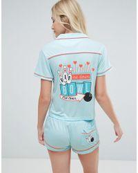 MINKPINK   Bowl Me Over Shirt And Short Pajama Set   Lyst