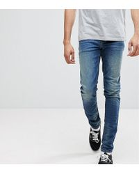 ASOS - Tall Skinny Jeans In 12.5oz Mid Blue - Lyst