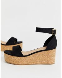 New Look - Suedette Flatform Sandal In Black - Lyst