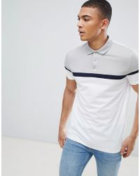 ASOS - Design Polo Shirt With Cut And Sew Panels In White - Lyst