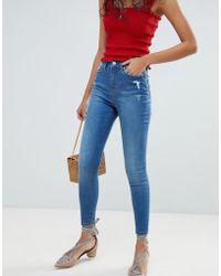 Miss Selfridge - Lizzie Mid Wash Skinny Jeans - Lyst